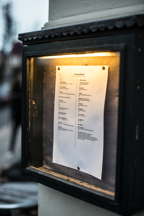 Restaurantens menukort