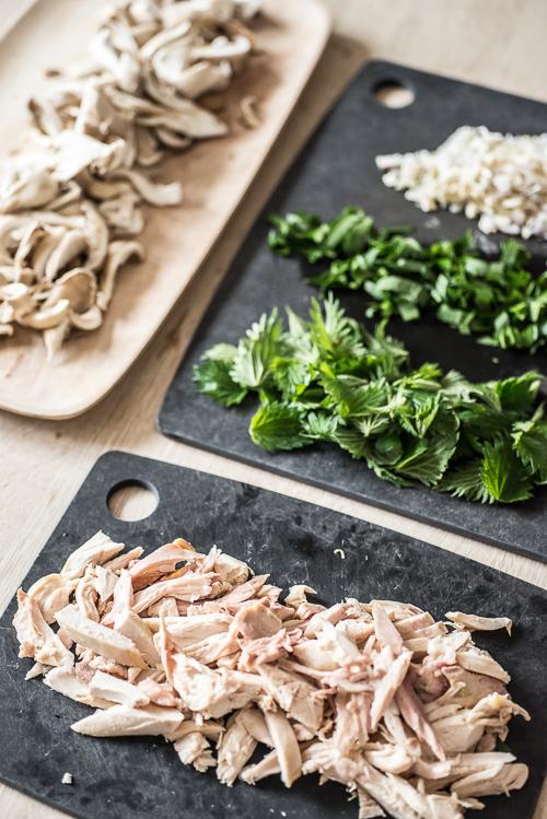 Kylling, østershatte, 2 x løg, brændenælder og ramsløg