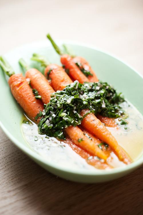 Gulerødder i ramsløg vinaigrette (hold lige igen med mængden)
