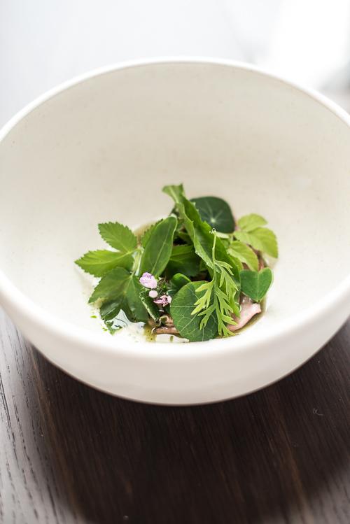 Lammetunge med urter, grillet agurk og umodne vindruer