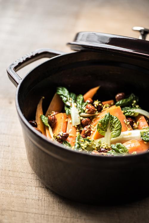 Lun gulerodssalat med hasselnødder, honning og appelsin - tryk på billedet for at komme til opskriften
