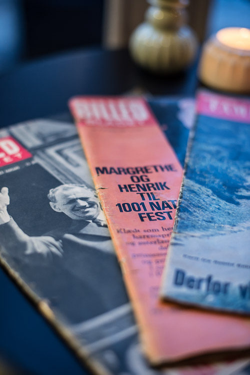 En sjov detalje i loungen: gamle numre af Billedbladet